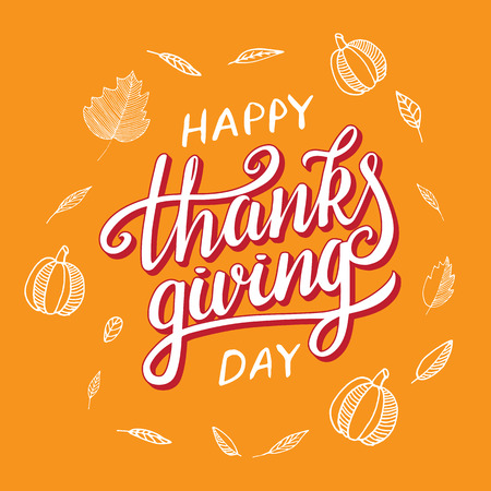 Vector thanksgiving day greeting lettering phrase. Happy thanksgiving with round frame of autumn leaves, pumpkin on orange blackboard. Illustration