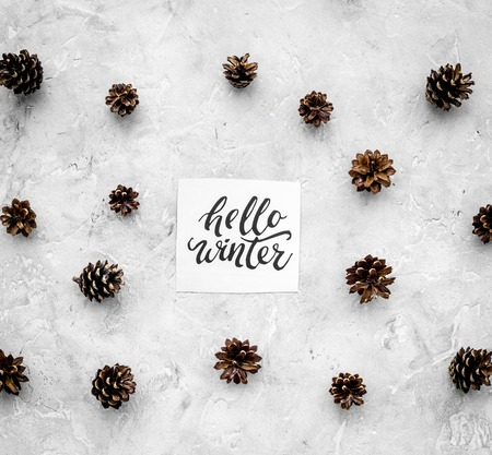 Hello winter hand lettering. Winter pattern with pinecones on grey background top view.