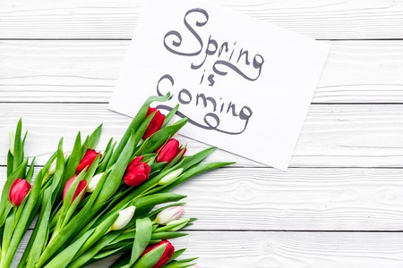 Spring is coming lettering near bouqet of colorful tulips on white wooden background top view