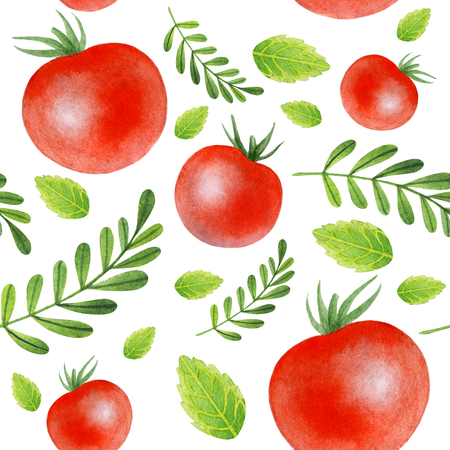 Painting of big red tomatos with leaves on white background.