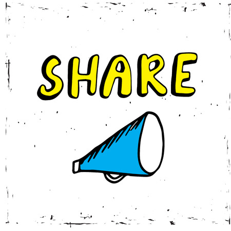 Share icon megaphone - communication and promotion strategy with social media Stok Fotoğraf - 94391109