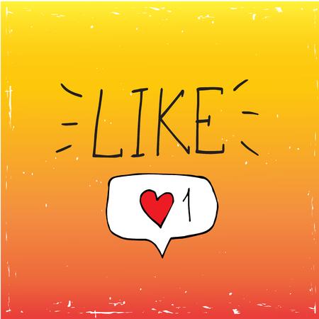 オレンジ色の背景にソーシャルメディアのアイコンを親指アップ。ベクトル、イラスト、書道の単語のような  イラスト・ベクター素材