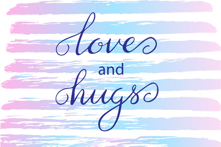 Valentines day handwritten card - vector lettering Love and hugs Vettoriali