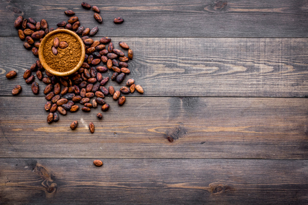 Main ingredient for chocolate. Cocoa powder in bowl near cocoa beans on dark wooden background top view copy space