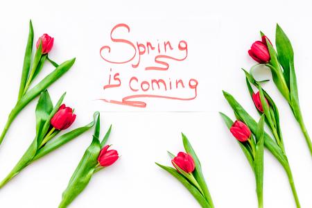 봄 흰색 배경 위에 빨간 튤립으로 둘러싸인 손 글자오고있다 상위 뷰입니다. 스톡 콘텐츠