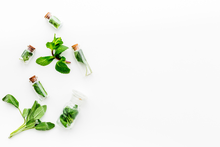 Herbal medicine. Healing herbs in small bottles on white background top view.