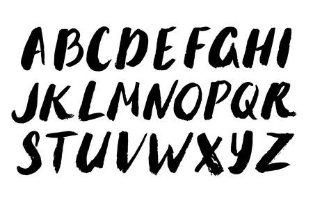 アルファベットセット - 緑の葉を持つ白い背景に文字のパターン。  イラスト・ベクター素材