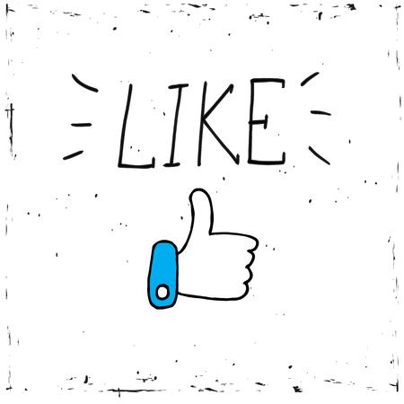 白い背景ベクトル、イラスト、書道のような単語にソーシャルメディアアイコンを親指アップ。