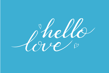Hand drawn hello love phrase postcard for Valentines day. Illustration