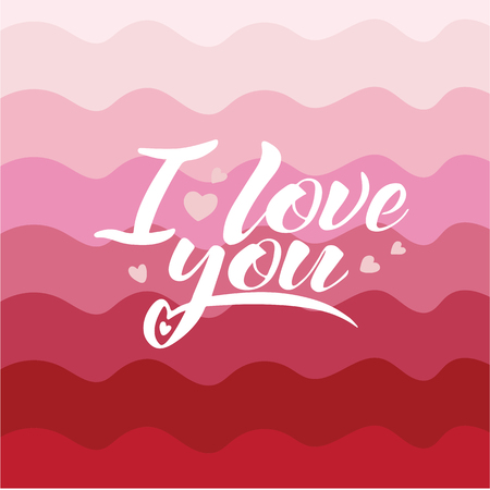 Words I love you, vector lettering, handwritten text on pink background - concept Valentine's day and wedding card. Vettoriali