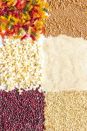 Various cereals, garnish background top view