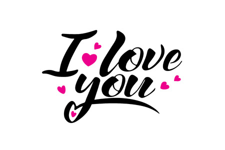 Words I love you, vector lettering, handwritten text - concept valentines day and wedding card.