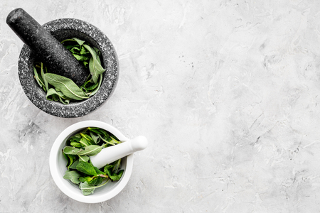 Phytotherapy. Herbs in mortar bowl on white background top view. 版權商用圖片 - 95505758