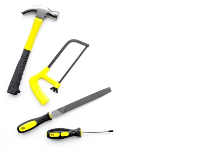 Various repair tools. Must-have for men. Equipment for building. White background top view copy space. Stok Fotoğraf