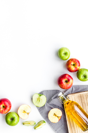 Homemade cider from ripe apples. White background top view. Stockfoto