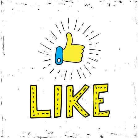 白い背景にソーシャルメディアのアイコンを親指アップ。ベクトル、イラスト、書道語のような  イラスト・ベクター素材