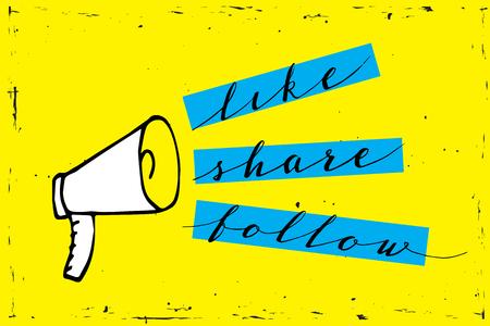 共有アイコンメガホン - 黄色の背景にソーシャルメディアとの通信とプロモーション戦略