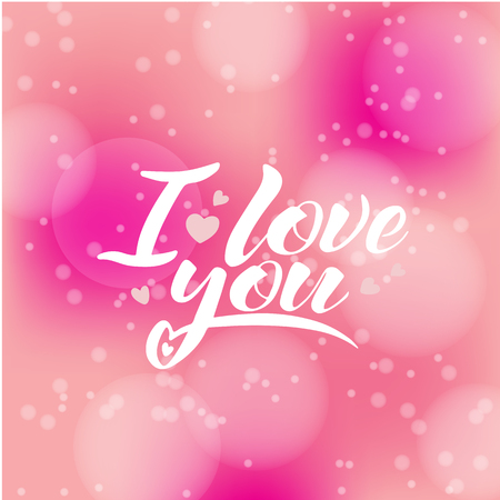 Words I love you, vector lettering, handwritten text on pink background - concept valentines day and wedding card. Vettoriali