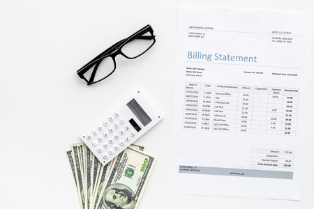 Pay bills and taxes. Billing statement, calculator, money on white background top view copy space