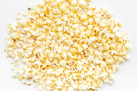 Popcorn background on white top view copy space Stock Photo