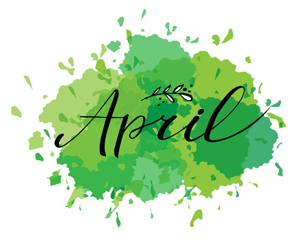 Hello april postcard, lettering, modern brush calligraphy. Green background
