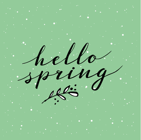 Hello Spring. Hand drawn calligraphy and brush pen lettering. design for holiday greeting and seasonal spring holiday card on green pastel background Illustration