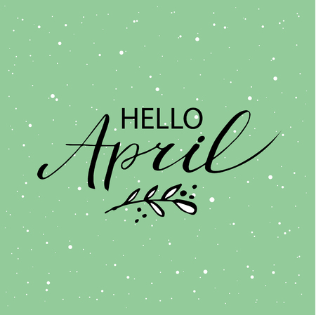 Hello april postcard, lettering, modern brush calligraphy. Blue mint background.