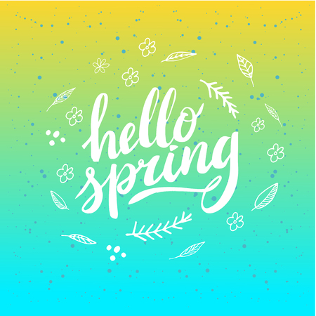 Hello Spring. Hand drawn calligraphy and brush pen lettering. design for holiday greeting and seasonal spring holiday card. Green pastel background