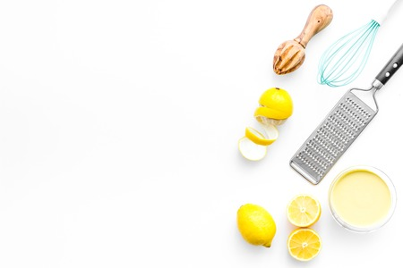homemade lemon curd cooking on white background top view mock up Фото со стока