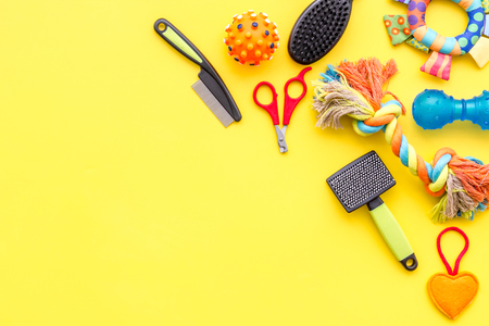 cats and dogs toys and acessories for pets yellow background top view mockup Stock Photo