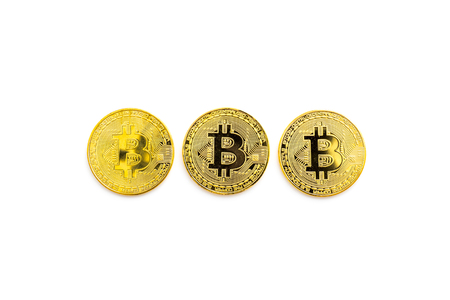 online payment with bitcoins on white background top view mock-up