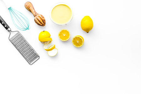 yellow lemons for cooking citrus curd white background top view space for text