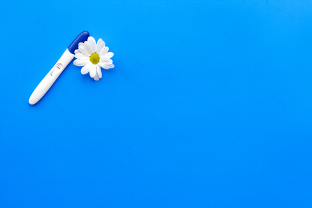 Joy of long-awaited pregnancy. Pregnancy test with two stripes near flowers on blue background top view mock-up.