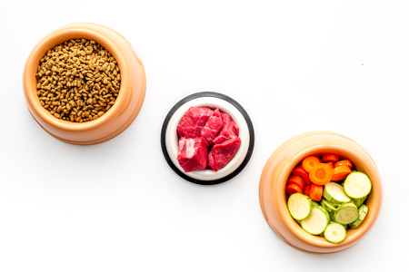 Ingredients for dry pet food. Meat and vegetables zucchini and carrot on white backgroud top view.
