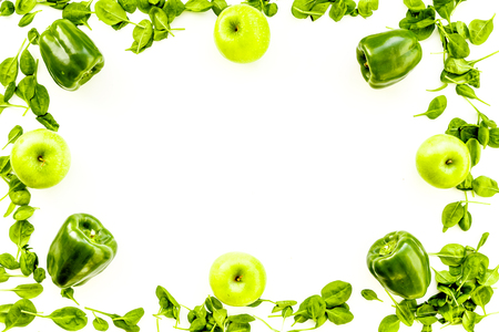 Pepper, apple, celeriac. Vegetables for greeny organic smoothy for sport diet on stone table background top view mockup Stock Photo
