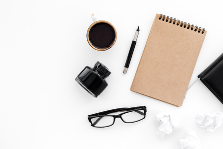 Writer workplace with tools for work on white table background top view mockup Stock Photo