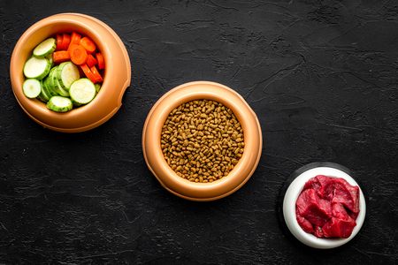 Dry organic pet food with fresh vegetables and meat in plastic bowl for feeding dogs on black desk background top view mock up