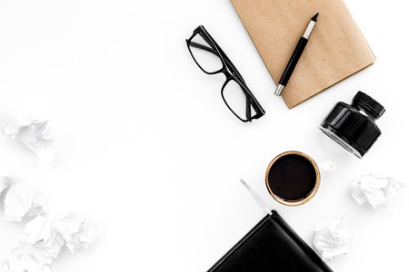 writer workplace with tools for work on white table background top view mockup Stok Fotoğraf - 97787882