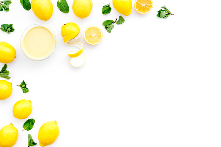 yellow citrus fruit set with lemons white background top view mock-up 写真素材