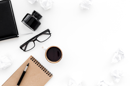 Writer workplace with tools for work on white office table background top view mockup Stock Photo