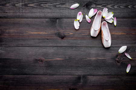 Professional dance shoes. Ballet concept. Pointes on dark wooden background top view copy space Stock Photo - 98540484