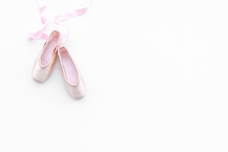 Professional dance shoes. Ballet concept. Pointes on white background top view. Stock Photo - 98510411