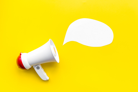 Statement concept. Megaphone near blank cloud for text top view. Stock Photo