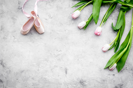 Professional dance shoes. Ballet concept. Pointes on grey background top view copy space Stock Photo