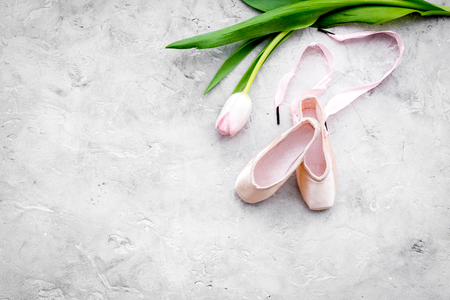 Professional dance shoes. Ballet concept. Pointes on grey background top view copy space Stock Photo - 99080672