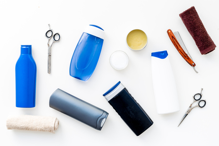 Mens bathroom set. Cosmetics for bath, tools for brushing and grooming on white background top view