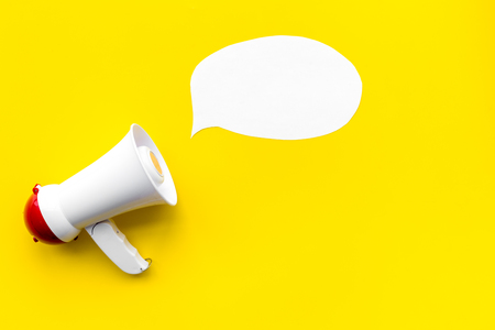 Statement concept. Megaphone near blank cloud for text top view. Stockfoto