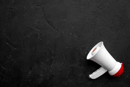 Announcement concept. Megaphone top view copy space Stok Fotoğraf