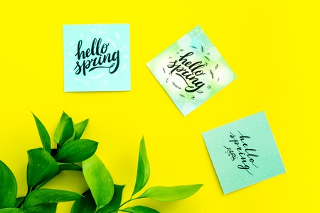 Spring background. Hand lettering hello spring near young green branch on yellow top view Imagens