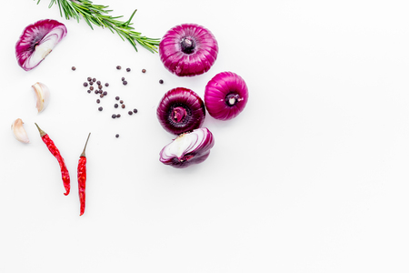 Red onion among spices rosemary, garlic, chili pepper on white background top view space for text